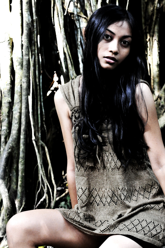 Nensi (Photographer I Putu Arya Sentanoe's girlfriend) at the Monkey Forest, Ubud, Bali.