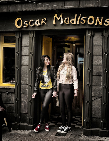 Local girls outside a pub.<br /> <br /> Kinsale, Ireland, 2013.