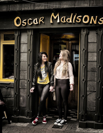 Local girls outside a pub.  Kinsale, Ireland, 2013.