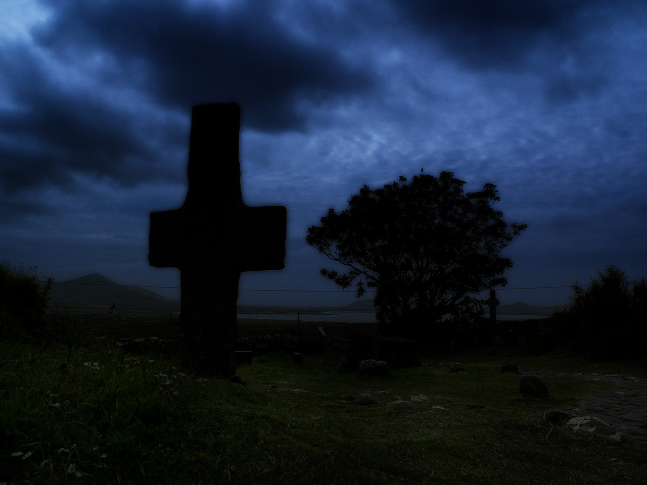 Graveyard at night.<br /> <br /> Ireland, 2013.