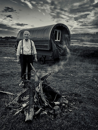 Farmer and his wagon.  Ireland, 2013.