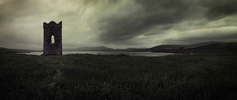 An old stone Watch tower over looking Dingle Bay.<br /> <br /> County Kerry, Ireland,2013.