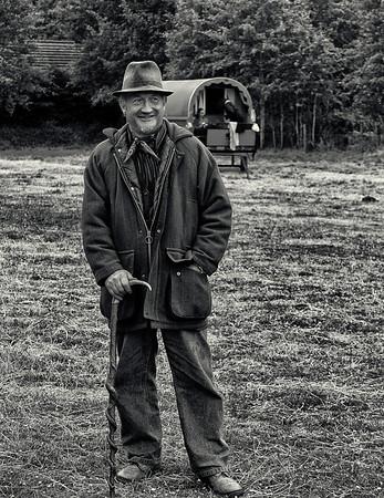 Man and his wagon.  Ireland, 2013.