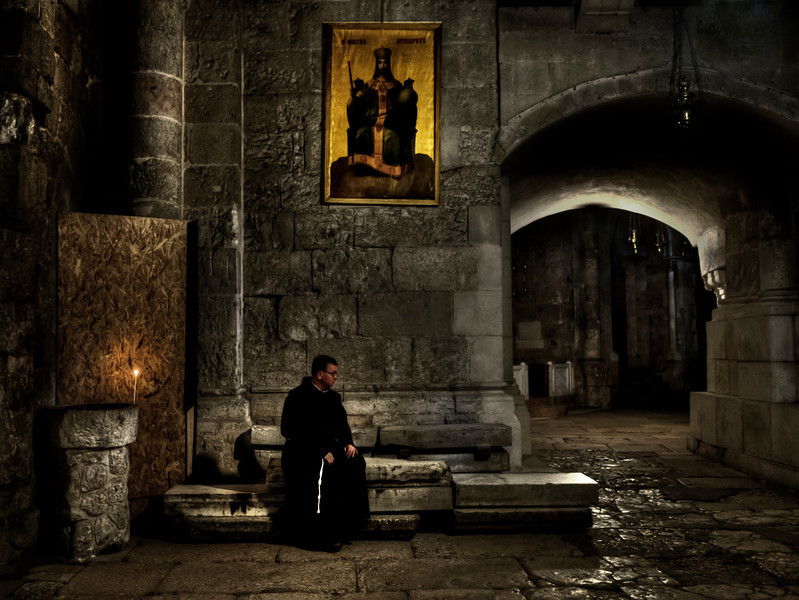 No one controls the main entrance at the Church of the Holy Sepulchreare. In 1192, Saladin assigned responsibility for it to the Muslim Nuseibeh family. The Joudeh Al-Goudia family were entrusted as custodian to the keys of the Holy Sepulchre by the Ottomans few hundred years later, and both families now share the responsibility. This arrangement has persisted into modern times.<br /> <br /> Church of the Holy Sepulchreare, Jerusalem, Israel, 2012.