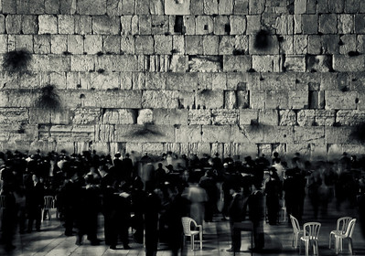 People praying at the wailing wall.  Jerusalem, Israel, 2012.