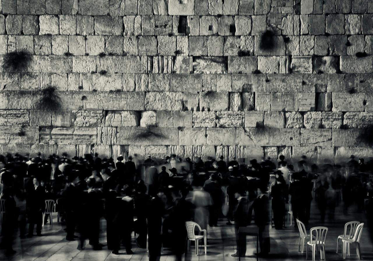 People praying at the wailing wall.<br /> <br /> Jerusalem, Israel, 2012.