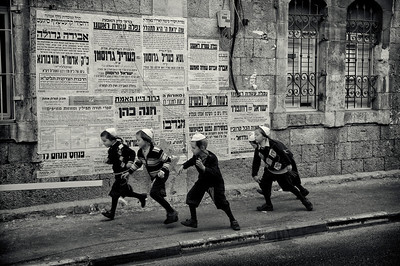 "Children running along the streets of Mea Shearim.  For more on Mea Shearim please visit the ""Meet the people"" gallery.  Jerusalem, Israel, 2012."