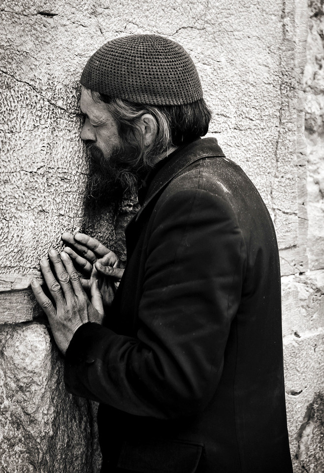 Man praying at the wailing wall.<br /> <br /> Jerusalem, Israel, 2012.