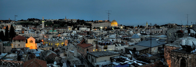 One of the magical moments in Jerusalem is watching the sunset whilst listening to the distant voices of prayer coming from the wailing wall. Minuites later the call for prayer coming from the many mosques around the city fill the air. Soon after the church bells make the final call to there devouts before the city is shrowded by darkness. <br /> <br /> Jerusalem, Israel, 2012.