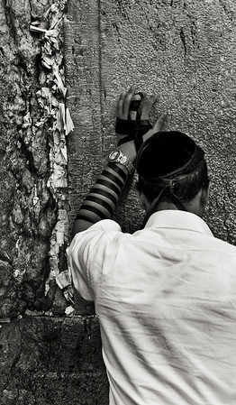 Man praying at the wailing wall.  Jerusalem, Israel, 2012.