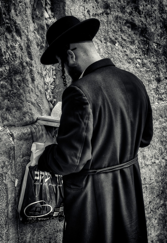 Man praying at the wailing wall.<br /> <br /> Jerusalem, Israel, 2012.