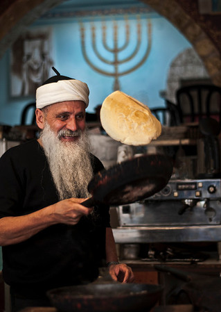 Aazoulig is a Moroccan Jew now leaving in Tfat and working in a small cafe selling Yemeni food.  Tfat, Israel, 2012.