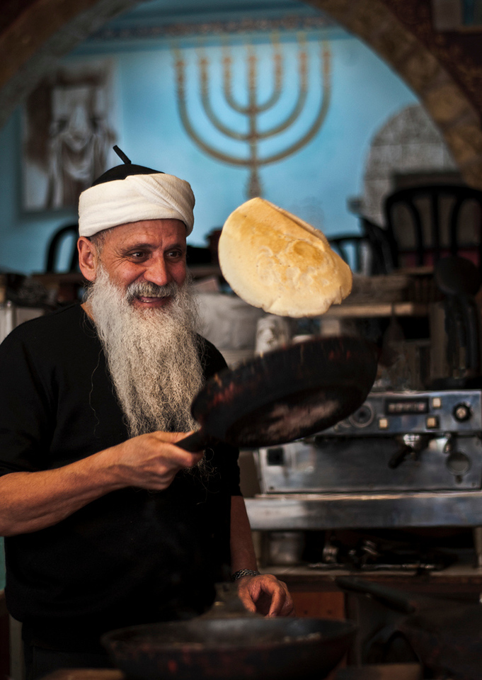 Aazoulig is a Moroccan Jew now leaving in Tfat and working in a small cafe selling Yemeni food.<br /> <br /> Tfat, Israel, 2012.