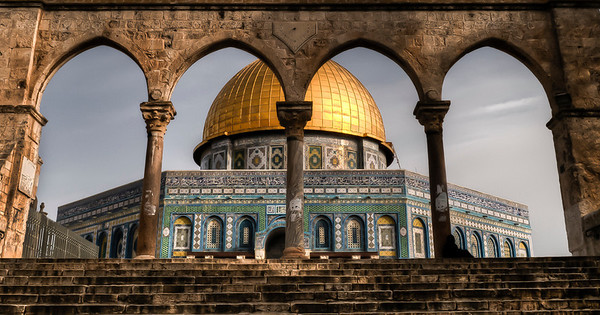 The Dome of the Rock is located at the visual center of a platform known as the Temple Mount. It was constructed on the site of the Second Jewish Temple, which was destroyed during the Roman Siege of Jerusalem in 70 CE.  Jerusalem, Israel, 2012.