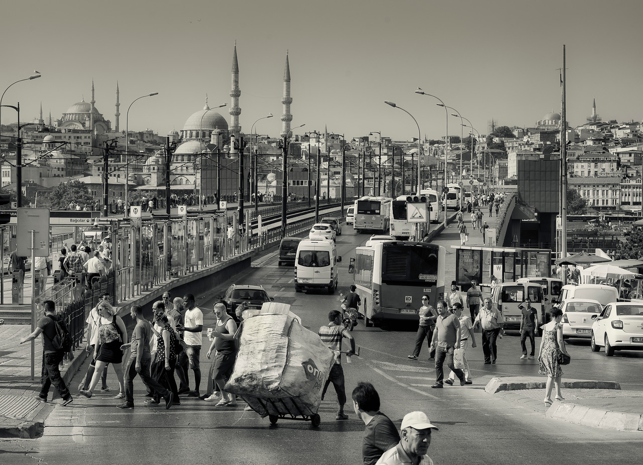 View of the Galata Bridge.<br /> <br /> Istanbul, Turkey, 2016.