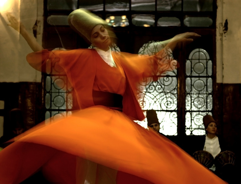 Whirling dervishes.<br /> <br /> Istanbul, 2009.