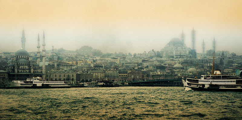 Istanbul skyline as seen from the Bosphorus.