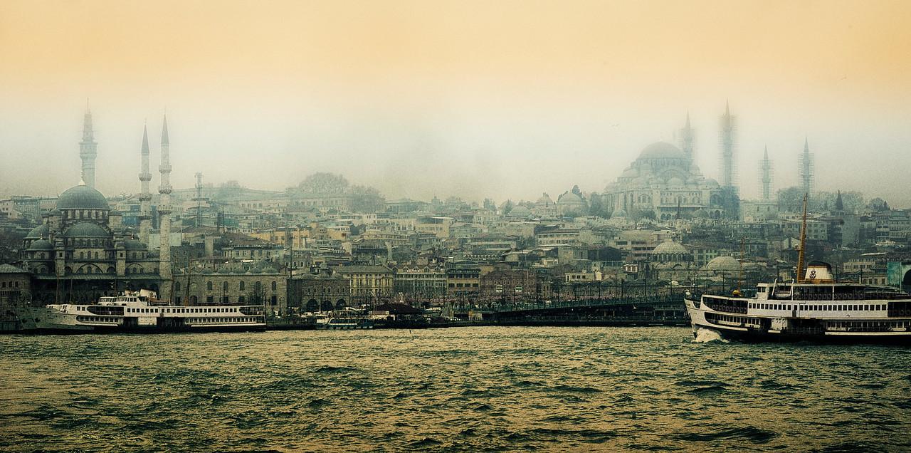 Istanbul skyline as seen from the Bosphorus.