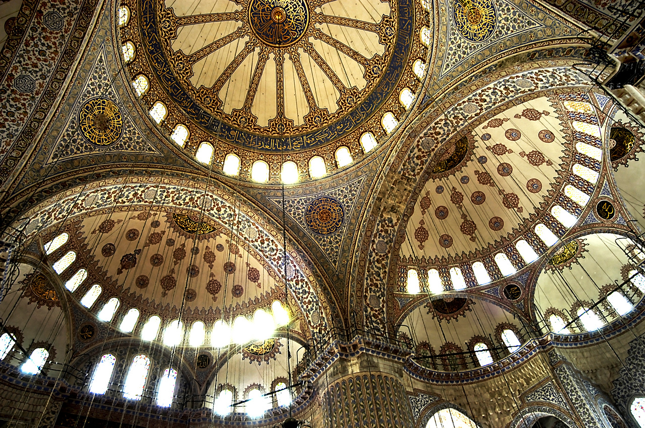 Interior of the Sultan Ahmed Mosque. <br /> <br /> Istanbul, 2009.