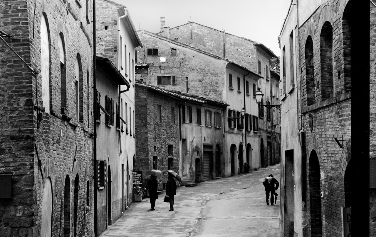 Street scene in a small village in Tuscany, Italy.