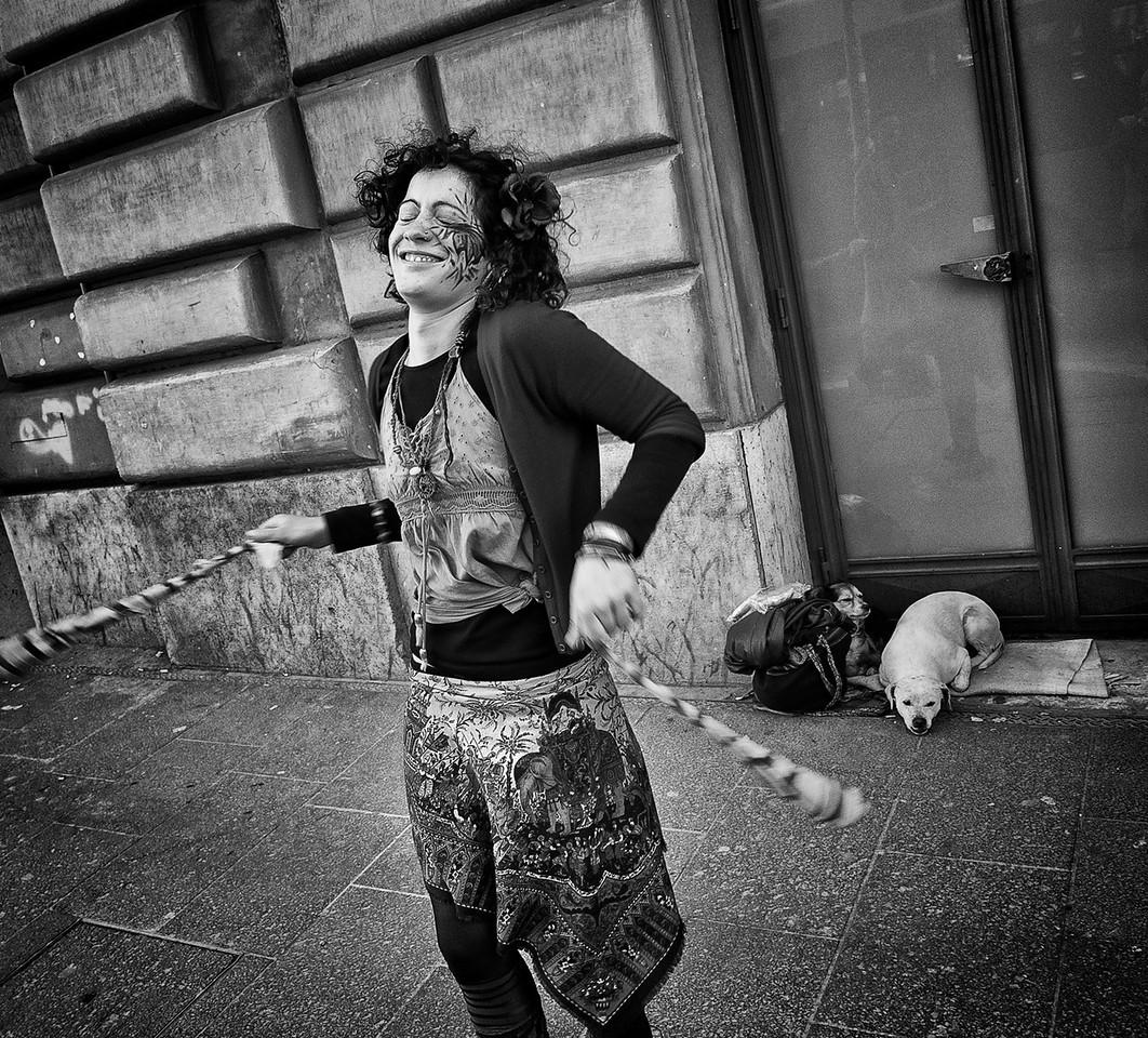 Street artist in Rome, Italy, 2015