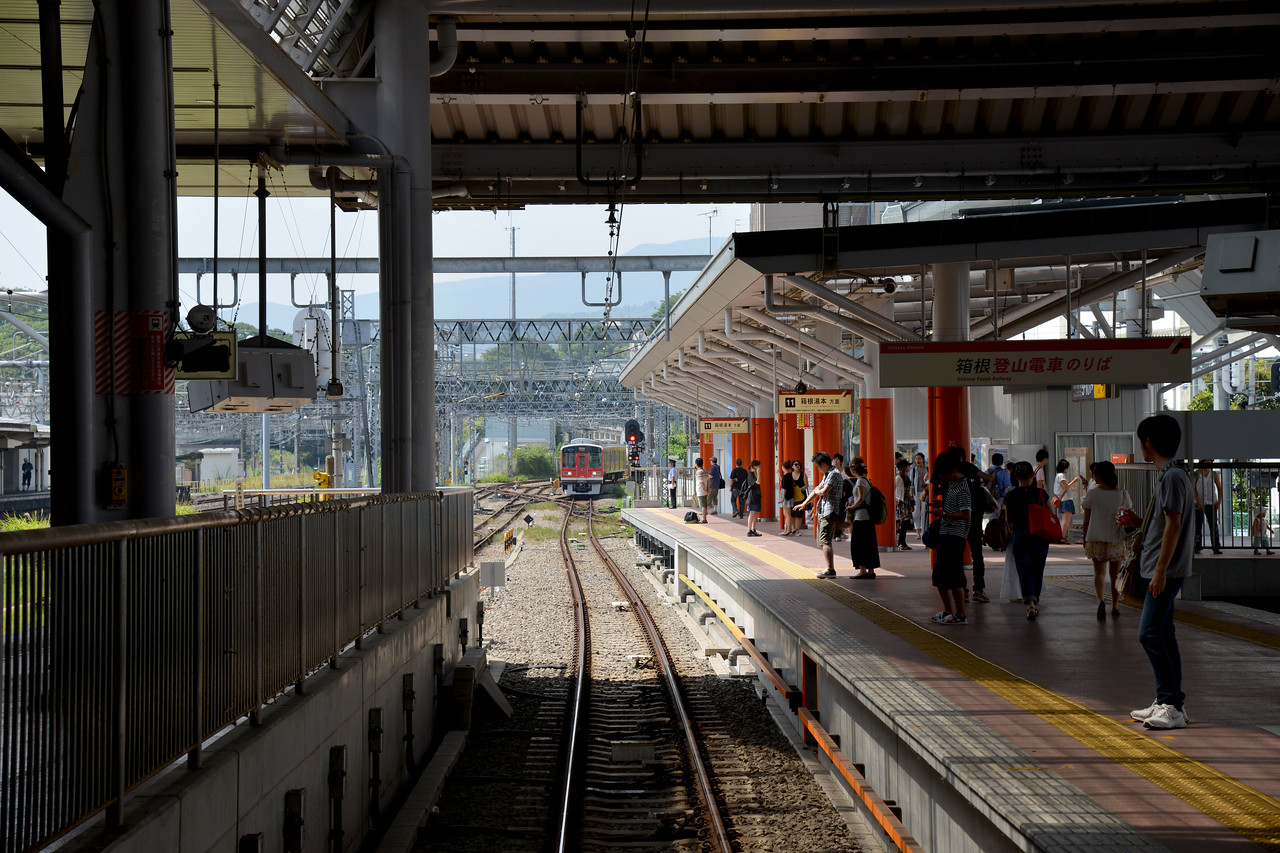 Odawara Station (小田原駅) is a railway station in Odawara, Kanagawa, Japan. It is a gateway station to the Hakone area. Well connected by train and bus.<br /> <br /> Hakone (箱根町) is a town in Ashigarashimo District in Kanagawa Prefecture, Japan. Hakone is located in the mountainous far west of the prefecture, on the eastern side of Hakone Pass. Most of the town is within the borders of the volcanically active Fuji-Hakone-Izu National Park, centered around Lake Ashi. Hakone is the location of a noted Shinto shrine, the Hakone Gongen, which is mentioned in Heian period literature. Hakone is noted for its onsen hot spring resorts, which attract both Japanese and international visitors due to its proximity to the greater Tokyo metropolis and to Mount Fuji. Hakone is a very popular tourist destination and best accessed from Odawara.
