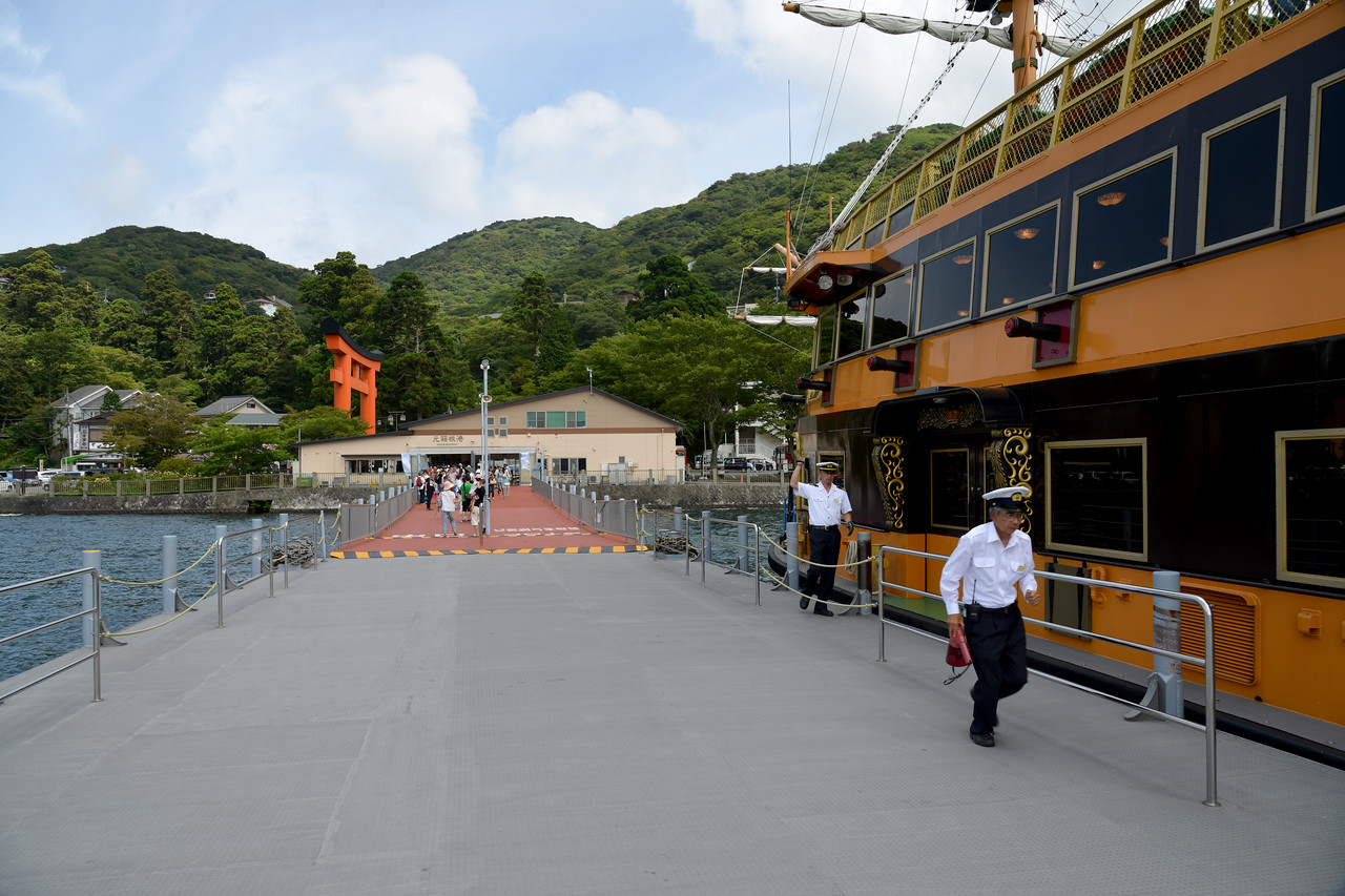 Boat ride at Hakone, at Lake Ashi.<br /> <br /> Hakone (箱根町) is a town in Ashigarashimo District in Kanagawa Prefecture, Japan. Hakone is located in the mountainous far west of the prefecture, on the eastern side of Hakone Pass. Most of the town is within the borders of the volcanically active Fuji-Hakone-Izu National Park, centered around Lake Ashi. Hakone is the location of a noted Shinto shrine, the Hakone Gongen, which is mentioned in Heian period literature. Hakone is noted for its onsen hot spring resorts, which attract both Japanese and international visitors due to its proximity to the greater Tokyo metropolis and to Mount Fuji. Hakone is a very popular tourist destination and best accessed from Odawara.