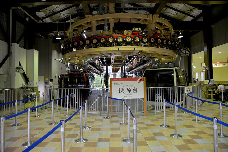 The Hakone Ropeway (箱根ロープウェイ) is the aerial lift. The funitel line links between Sōunzan and Tōgendai via Ōwakudani, all within Hakone, Kanagawa, Japan. The line became funitel in 2002, the second of its kind in the nation, after Hashikurasan Ropeway. It makes a part of the sightseeing route between Odawara and Lake Ashi.<br /> <br /> Hakone (箱根町) is a town in Ashigarashimo District in Kanagawa Prefecture, Japan. Hakone is located in the mountainous far west of the prefecture, on the eastern side of Hakone Pass. Most of the town is within the borders of the volcanically active Fuji-Hakone-Izu National Park, centered around Lake Ashi. Hakone is the location of a noted Shinto shrine, the Hakone Gongen, which is mentioned in Heian period literature. Hakone is noted for its onsen hot spring resorts, which attract both Japanese and international visitors due to its proximity to the greater Tokyo metropolis and to Mount Fuji. Hakone is a very popular tourist destination and best accessed from Odawara.