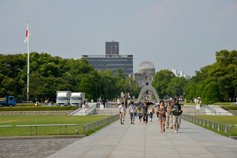 The Hiroshima Peace Memorial Museum is the primary museum in the park dedicated to educating visitors about the bomb. The Museum has exhibits and information covering the build up to war, the role of Hiroshima in the war up to the bombing, and extensive information on the bombing and its effects, along with substantial memorabilia and pictures from the bombing. The building also has views of the Memorial Cenotaph, Peace Flame, and A-Bomb Dome.<br /> <br /> Hiroshima (広島市) is the capital of Hiroshima Prefecture, and the largest city in the Chūgoku region of western Honshu, which is the largest island of Japan. It is recongnized as the first city in history to be targeted by a nuclear weapon when the United States Army Air Forces (USAAF) dropped an atomic bomb on it at 8:15 a.m. on August 6, 1945, near the end of World War II. Hiroshima is situated on the Ōta River delta, on Hiroshima Bay, facing the Seto Inland Sea on its south side. The river's six channels divide Hiroshima into several islets.