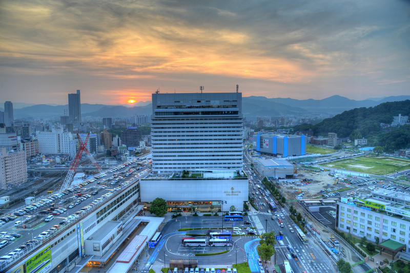 View from our room in Sheraton Hotel, Hiroshima, Japan.<br /> <br /> Hiroshima (広島市) is the capital of Hiroshima Prefecture, and the largest city in the Chūgoku region of western Honshu, which is the largest island of Japan. It is recongnized as the first city in history to be targeted by a nuclear weapon when the United States Army Air Forces (USAAF) dropped an atomic bomb on it at 8:15 a.m. on August 6, 1945, near the end of World War II. Hiroshima is situated on the Ōta River delta, on Hiroshima Bay, facing the Seto Inland Sea on its south side. The river's six channels divide Hiroshima into several islets.