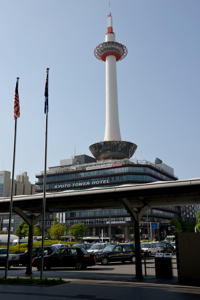 Kyoto Tower.<br /> Kyoto (京都市) is a city located in the central part of the island of Honshu, Japan. It has a population close to 1.5 million. Formerly the imperial capital of Japan for more than one thousand years, it is now the capital of Kyoto Prefecture, as well as a major part of the Kyoto-Osaka-Kobe metropolitan area. With temples, parks, bustling business districts, markets, from regal estates to the tightly-packed neighborhoods, Kyoto is one of the oldest and most famous Asian metropolises. Although ravaged by wars, fires, and earthquakes during its eleven centuries as the imperial capital, Kyoto was spared from much of the destruction of World War II. With its 2000 religious places- 1600 Buddhist temples and 400 Shinto shrines, as well as palaces, gardens and architecture intact, it is one of the best preserved cities in Japan.