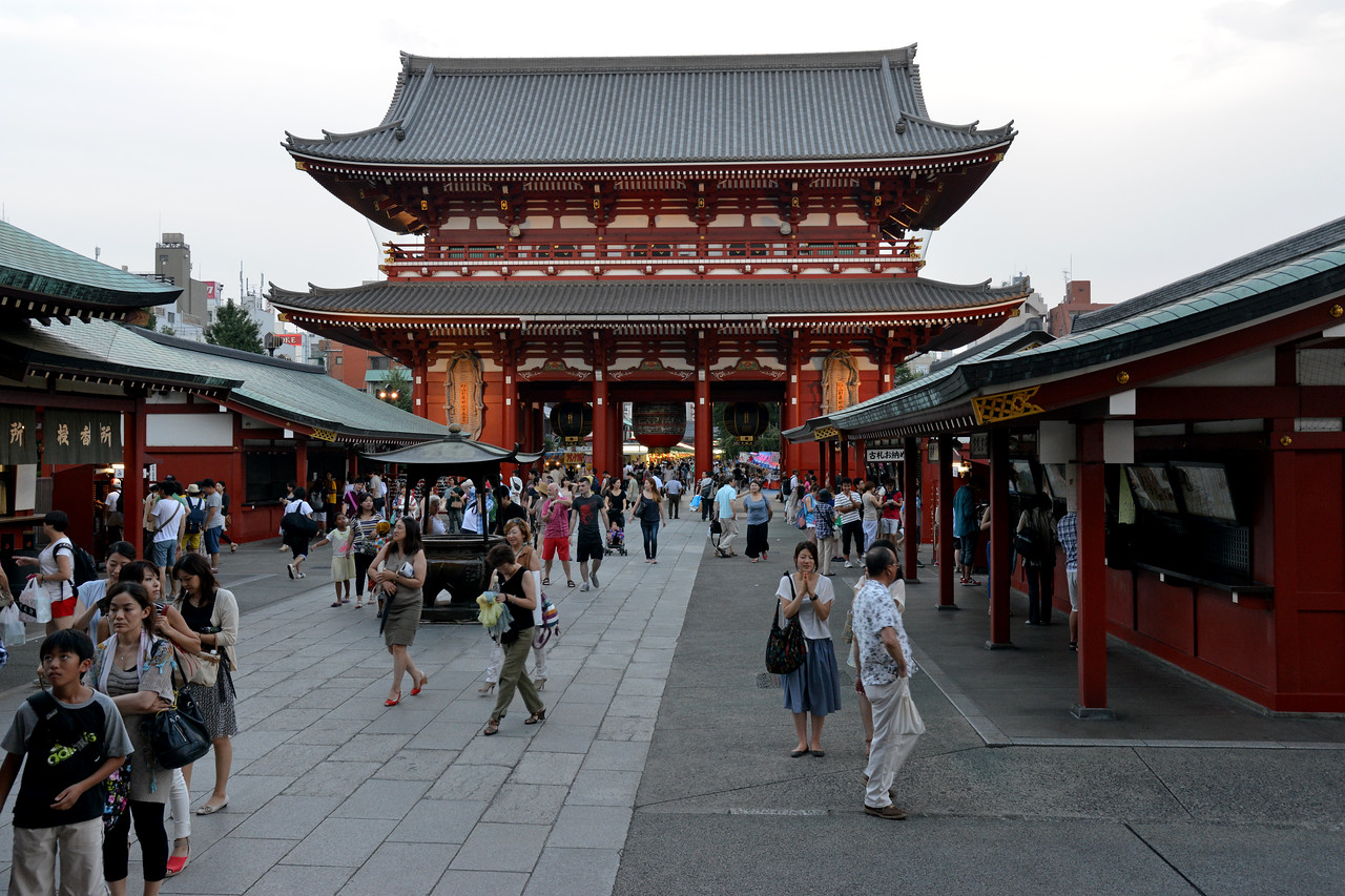"Asakusa shrine at Taito, Tokyo, Japan.<br /> <br /> Tokyo (東京 Tōkyō) ""Eastern Capital"" is one of the 47 prefectures of Japan. Tokyo is the capital of Japan, the center of the Greater Tokyo Area, and the largest metropolitan area in the world. It is the seat of the Japanese government and the Imperial Palace, and the home of the Japanese Imperial Family. Tokyo is in the Kantō region on the southeastern side of the main island Honshu and includes the Izu Islands and Ogasawara Islands. Tokyo was originally a small fishing village named Edo  which means ""estuary""."