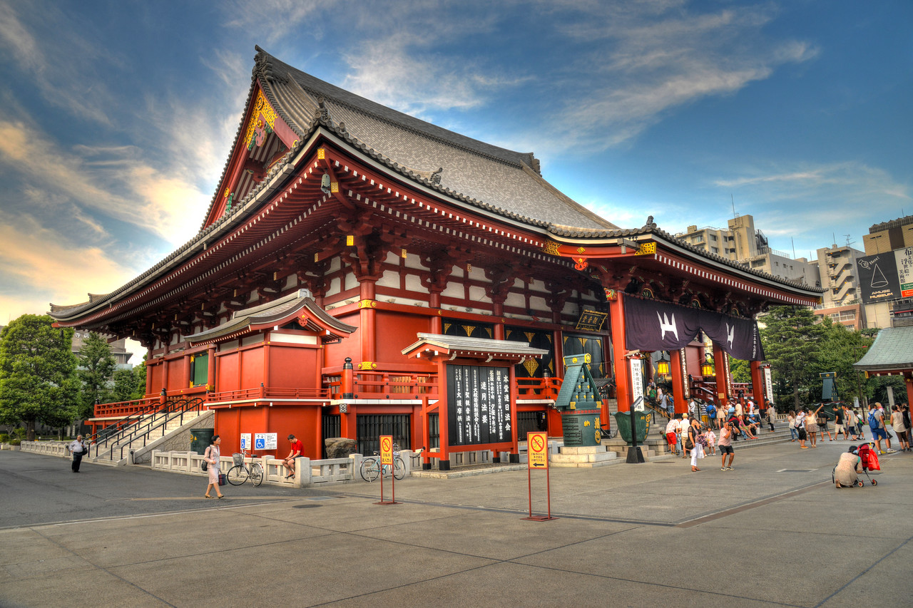"""Asakusa shrine at Taito, Tokyo, Japan.<br /> <br /> Tokyo (東京 Tōkyō) """"Eastern Capital"""" is one of the 47 prefectures of Japan. Tokyo is the capital of Japan, the center of the Greater Tokyo Area, and the largest metropolitan area in the world. It is the seat of the Japanese government and the Imperial Palace, and the home of the Japanese Imperial Family. Tokyo is in the Kantō region on the southeastern side of the main island Honshu and includes the Izu Islands and Ogasawara Islands. Tokyo was originally a small fishing village named Edo  which means """"estuary""""."""