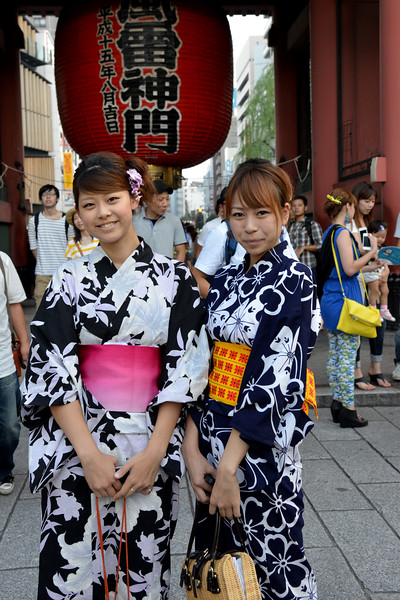 """Ladies pose at Asakusa shrine at Taito, Tokyo 111-0032, Japan.<br /> Tokyo (東京 Tōkyō) """"Eastern Capital"""" is one of the 47 prefectures of Japan. Tokyo is the capital of Japan, the center of the Greater Tokyo Area, and the largest metropolitan area in the world. It is the seat of the Japanese government and the Imperial Palace, and the home of the Japanese Imperial Family. Tokyo is in the Kantō region on the southeastern side of the main island Honshu and includes the Izu Islands and Ogasawara Islands. Tokyo was originally a small fishing village named Edo  which means """"estuary""""."""
