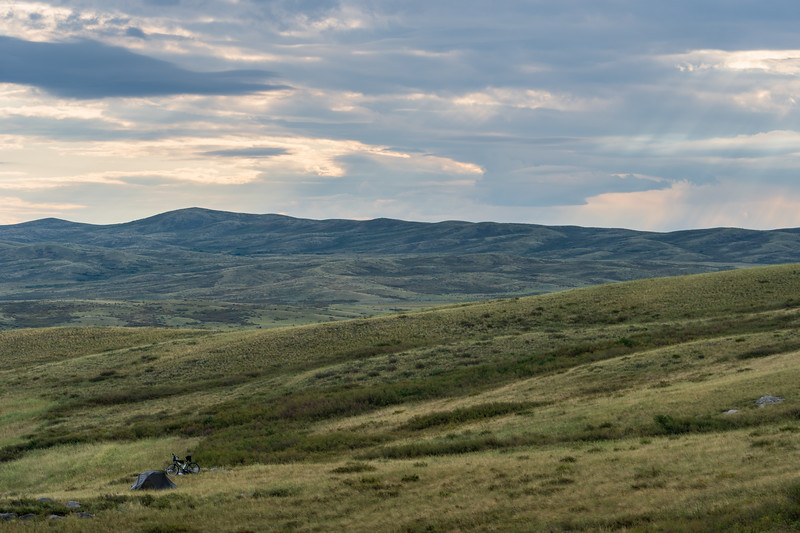 Camping in the green rolling hills