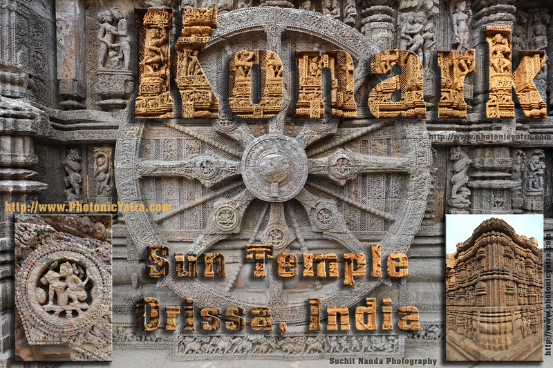 Konark Sun Temple (also called the Black Pagoda), Orissa.<br /> <br /> Konark Sun Temple in Orissa belongs to the Kalinga school of Indian temples and was constructed by King Narasimhadeva of the Eastern Ganga Dynasty in the 13th Century. This world heritage site temple takes the form of a colossal chariot of Surya (Sun) drawn by seven spirited horses on twelve pairs of exquitely decorated wheels. Surya has been a popular deity in India since the Vedic perios. Thousands of sculptured images depict deities, celestial and human musicians, dancers, lovers, and myriad scenes of courtly life, ranging from hunts and military battles to the pleasures of courtly relaxation. The temple is famous for its erotic stone sculptures, which can be found primarily on the second level of the porch structure.