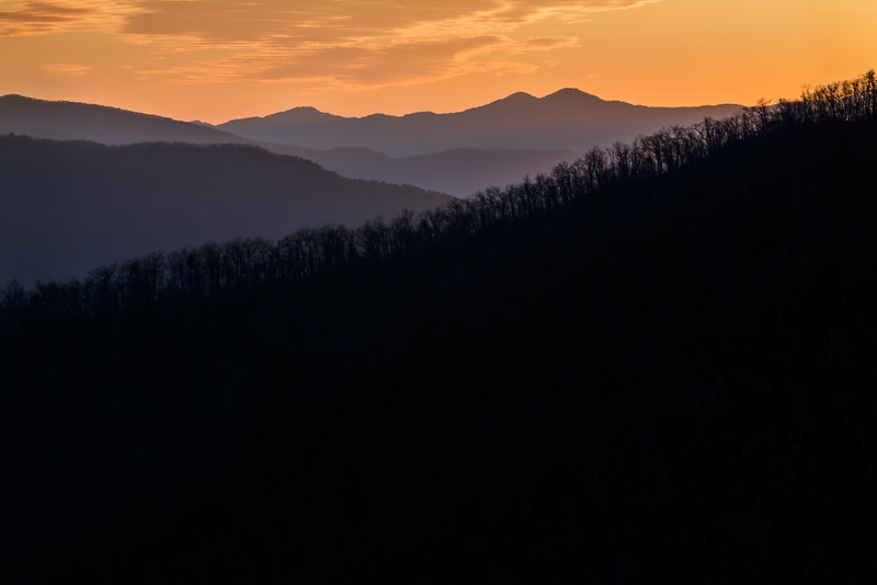 Sunset over Pisgah National Forest