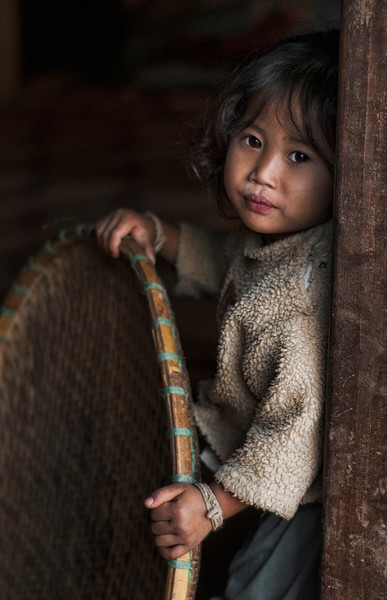 Minlao girl in the village of Lackpaid.<br /> <br /> Northern Laos, 2010.