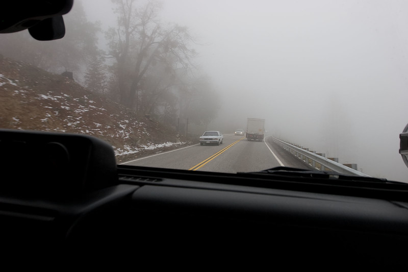 On the 330 up to Big Bear.  38 degrees, snow, dense fog...Oh My!  We were seriously second guessing the wisdom of choosing this particular day as we ascended the mountain.  However, once we reached the Arrowhead area, the sun came out and it was quite nice all day.