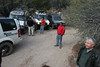 Small staging area on the backside of the more difficult parts of the trail.  Everyone stopped for a quick bite to eat.  The temperature dropped from a balmy low 50's to about 30 degrees in a span of about 10 minutes...then it started SNOWING!