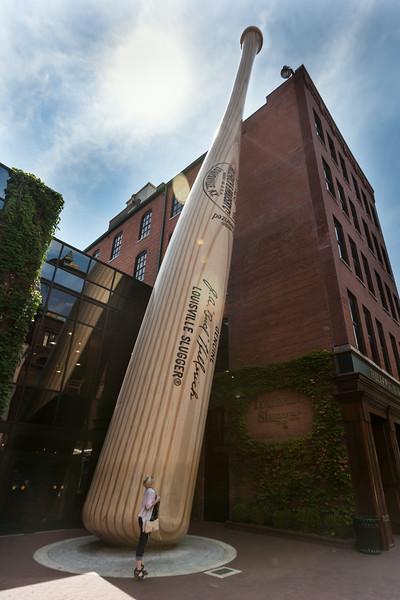 Giant bat outside the Louisville Slugger Museum and Factory, Louisville, Kentucky, Digital, 2014.