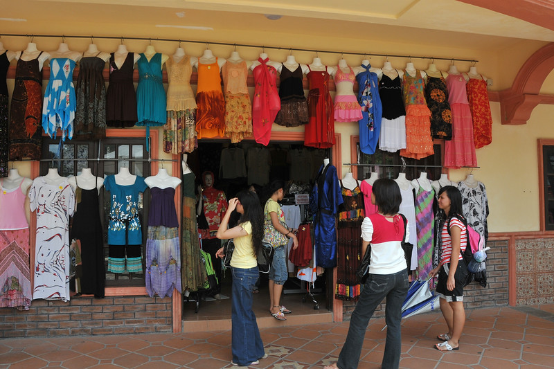 Cloths shopping at the Oriental Village, Langkawi Geopark, Malaysia