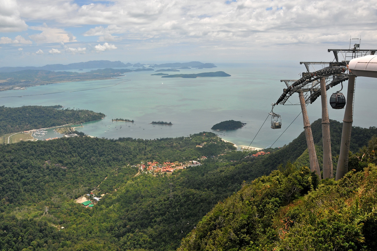 View of Langkawi from Mat Chinchang Hill reached by cable car from sea level. Malaysia.<br /> Langkawi Sky Bridge is the world's steepest cable car and provides an experience of Langkawi from the highest perspective. The Sky Bridge hangs 100 meters above the ground; 708 meters above sea level.