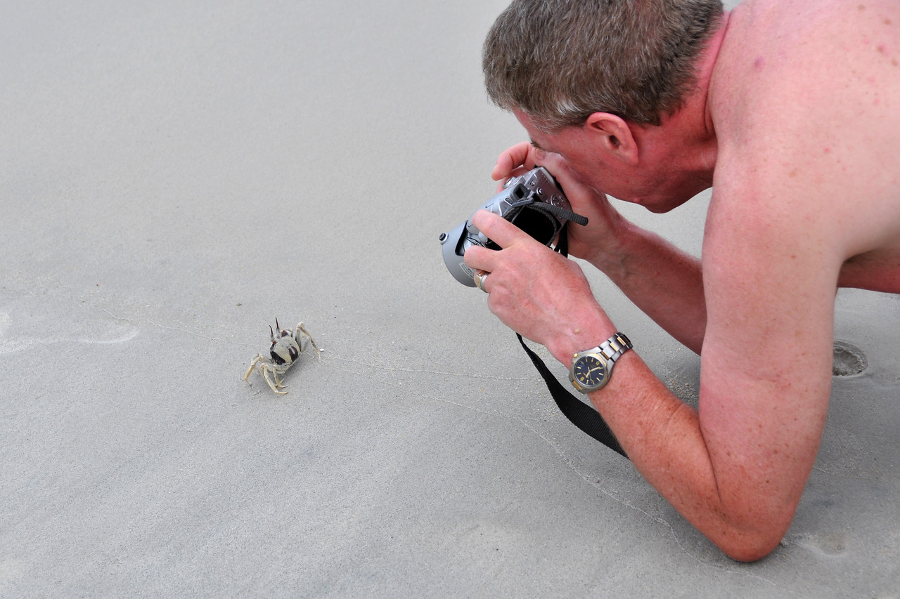This other guy and I started to take pictures of this crab on the beach in Langkawi, Malaysia