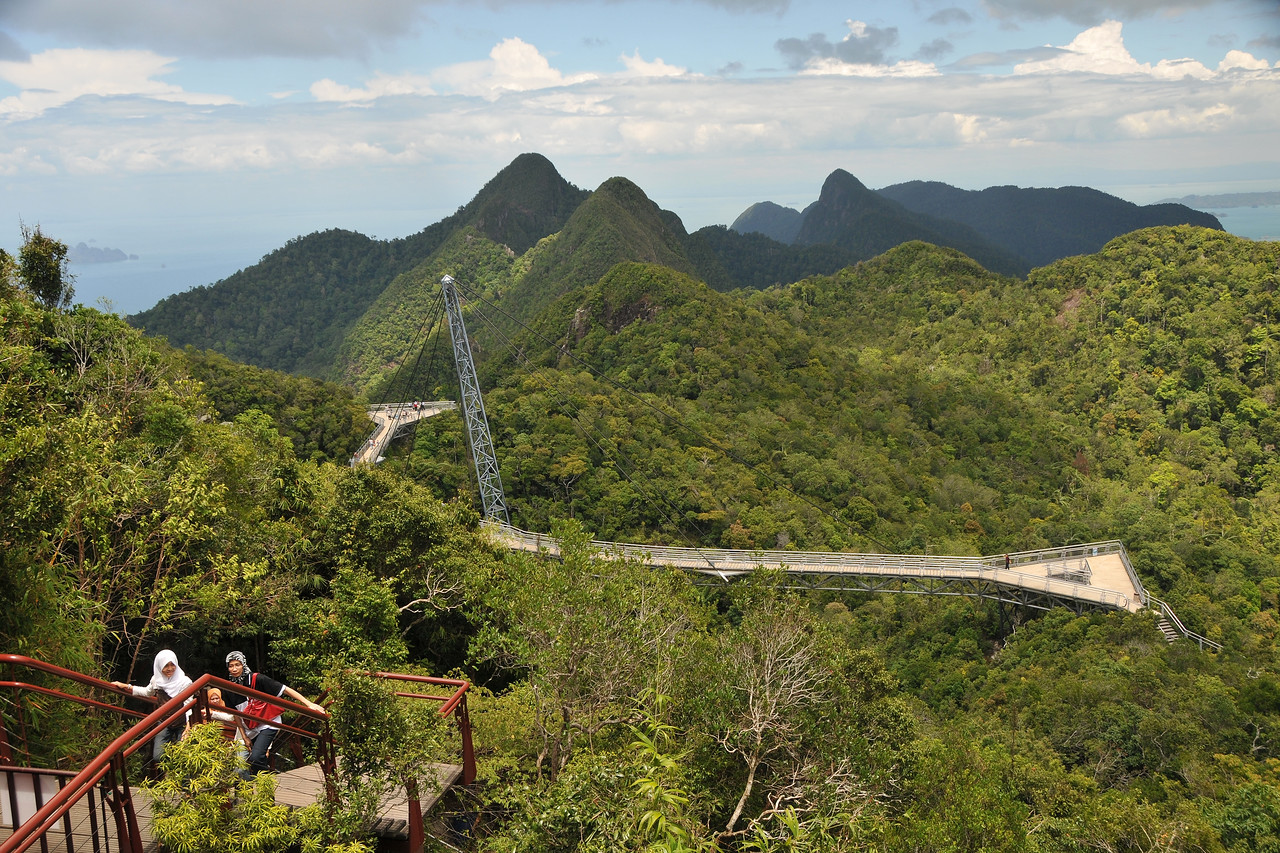 View of Langkawi from Mat Chinchang Hill reached by cable car from sea level. Malaysia. Langkawi Sky Bridge is the world's steepest cable car and provides an experience of Langkawi from the highest perspective. The Sky Bridge hangs 100 meters above the ground; 708 meters above sea level.