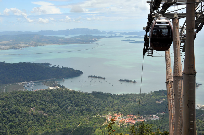 Cable Car from Oriental Village, Langkawi Geopark, Malaysia. Ascending the Mat Chinchang Hill by cable car one gets a bird's eye view of major parts of Langkawi.