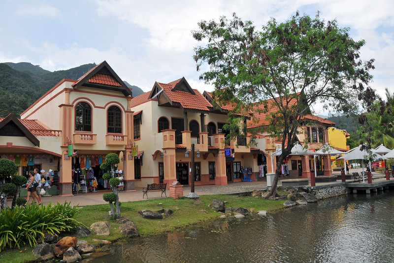 Shops lining the pathways at Oriental Village; Langkawi Geopark; Malaysia