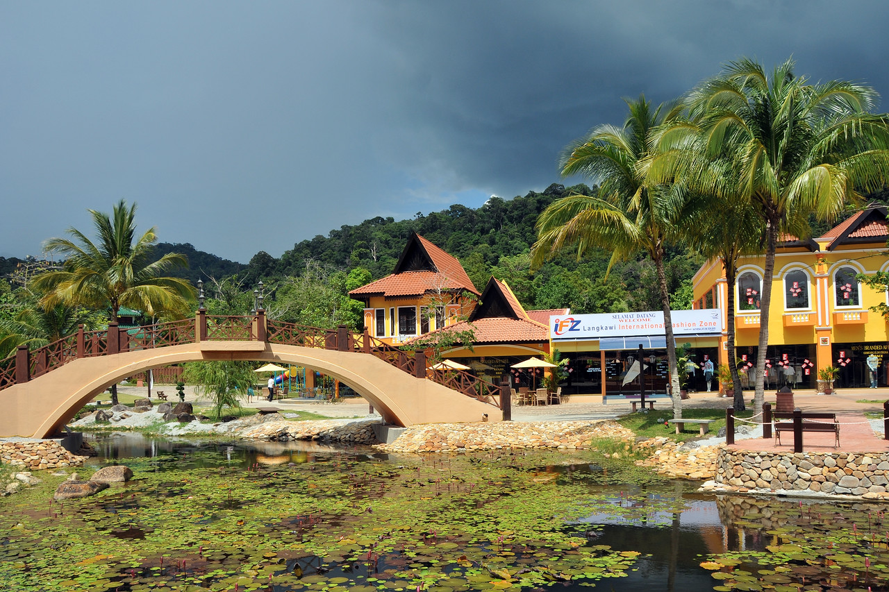 Rain clouds moving in. Oriental Village; Langkawi Geopark; Malaysia