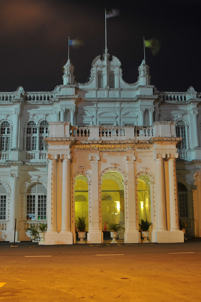 """Night shot of the Town Hall Building.<br /> Penang (pronounced /pəˈnæŋ/; (Malay: Pulau Pinang)) is a state in Malaysia which is located on the north-west coast of Peninsular Malaysia by the Strait of Malacca. The name """"Penang"""" comes from the modern Malay name Pulau Pinang, which means island of the betel nut tree. It is the second smallest state in Malaysia. Penang is often known as """"The Pearl of the Orient"""" and """"Pulau Pinang Pulau Mutiara"""" (Penang Island of Pearls)."""