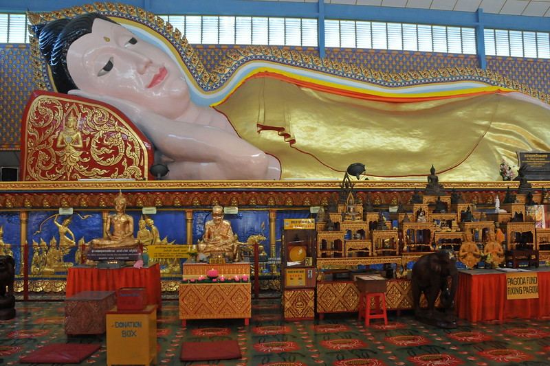 Reclining Buddha at Wat Chayamangkalaram - Thai Buddhist Temple, George Town, Penang, Malaysia.